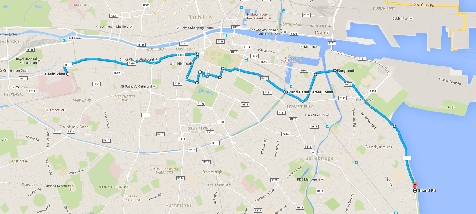 Percorso bicicletta Dublino