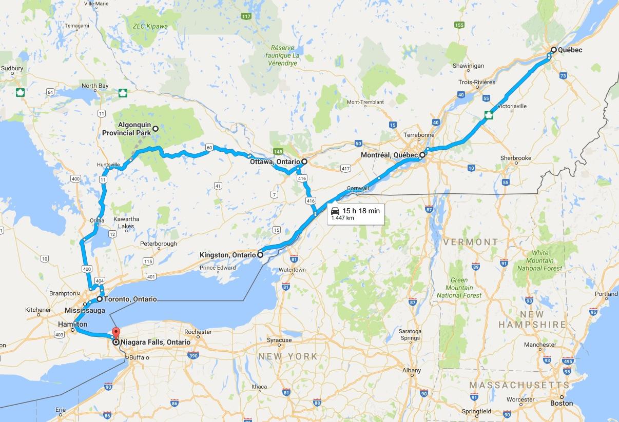 Itinerario Canada orientale